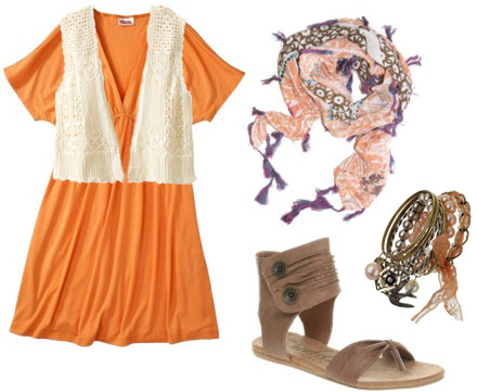 How to wear an orange dress from Target with a crochet vest and scarf