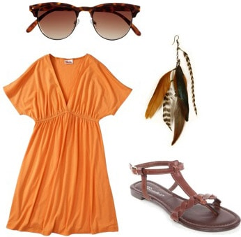How to wear an orange dress from Target with simple sandals and feather earrings