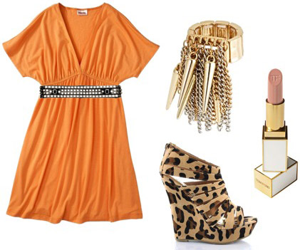 How to wear an orange dress from Target with leopard wedges