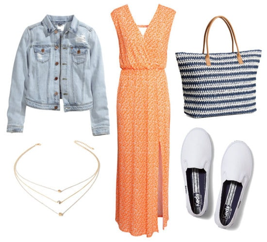 maxi dress, denim jacket, slip-on sneakers