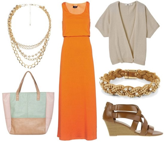 how to wear an orange maxi dress for day with beige cardigan brown wedges gold braided bracelet gold layered necklace and colorblocked tote bag
