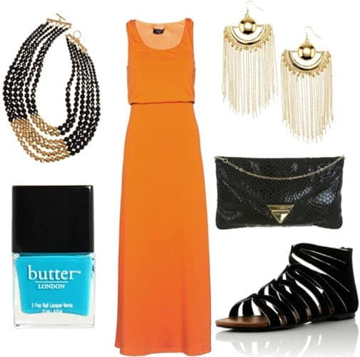 how to wear an orange maxi dress for night with black gladiator sandals black clutch gold chandelier earrings black and gold multi stringed necklace and teal nail polish