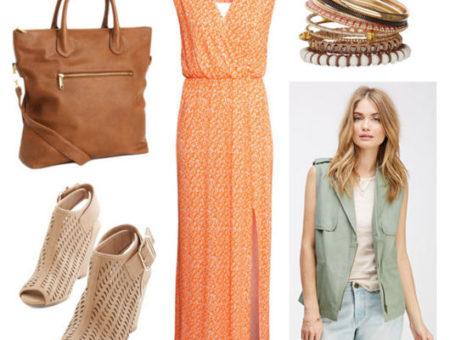Maxi dress, utility vest, wedges