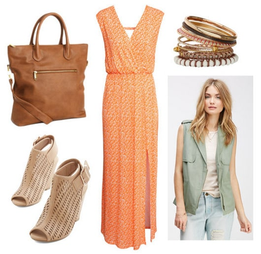 Maxi dress, utility vest, wedges