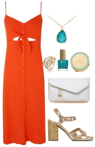 How to wear an orange button front midi dress for a night out with turqouise jewelry, blue nail polish, gold cuff, white chain strap bag, and gold and cork sandals