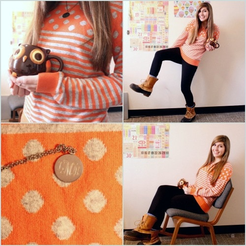 Orange patterned sweater and bean boots
