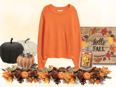 Orange rib-knit sweater with pumpkin, foliage, and fall things.