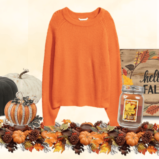 Orange rib-knit sweater with pumpkin, foliage, and fall things.