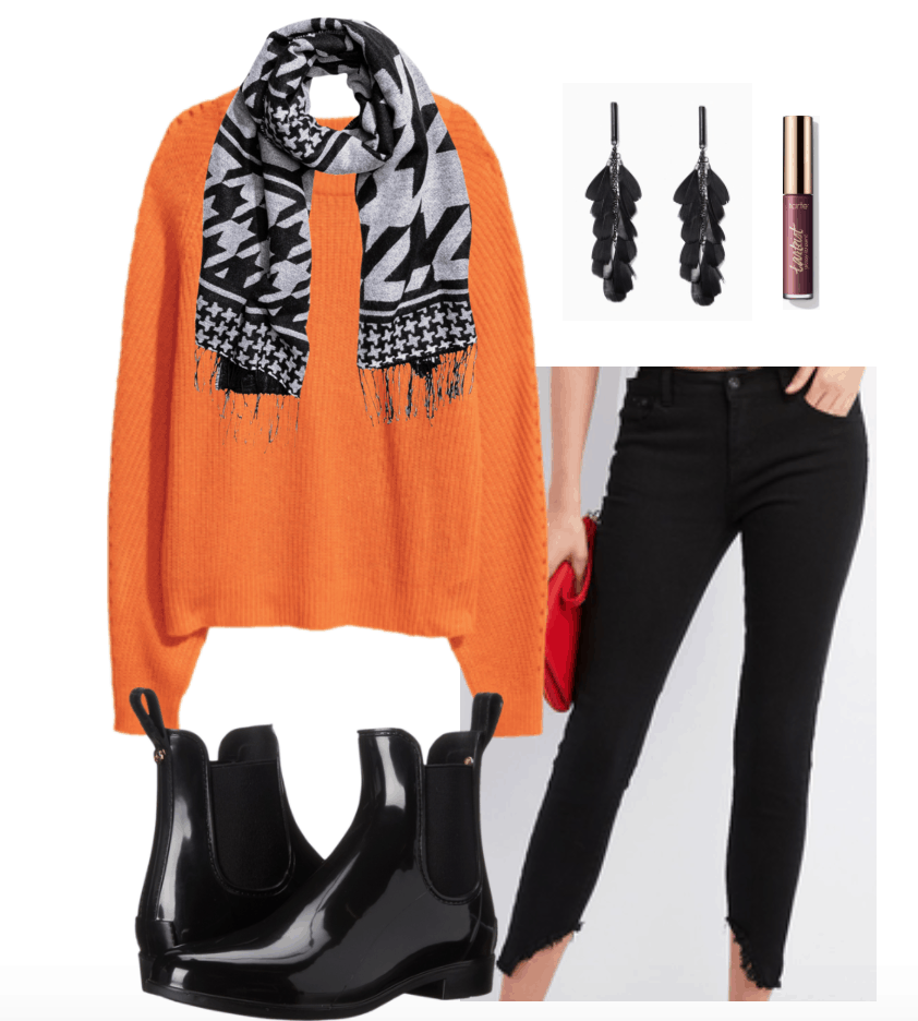 Orange sweater outfit 1L orange rib-knit sweater, patterned  scarf, leaf earrings, shiny rain boots, and black frayed jeans.