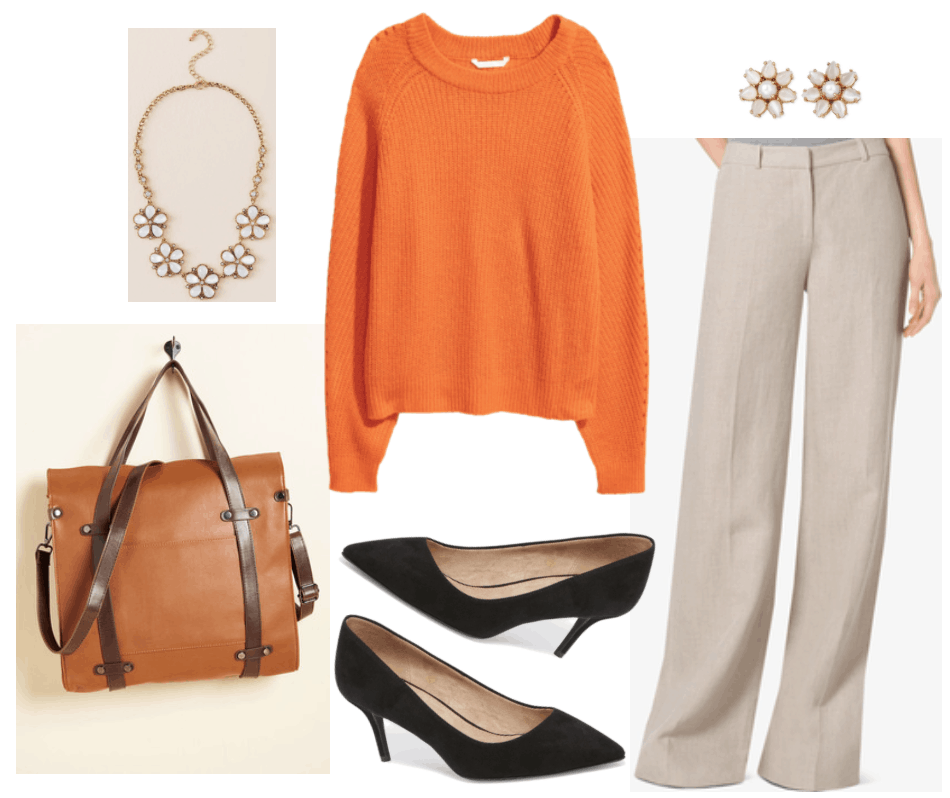 Orange sweater outfit 2: Orange rib-knit sweater styled in a business casual outfit with wide-leg beige trousers and black pumps.