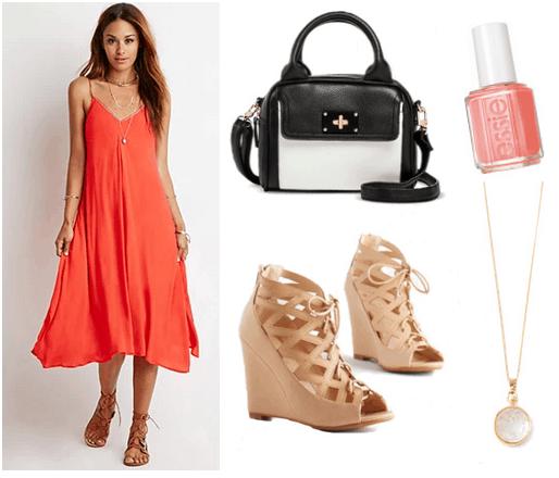 Orange slip dress with tan wedges, bw bag, nail polish, and necklace