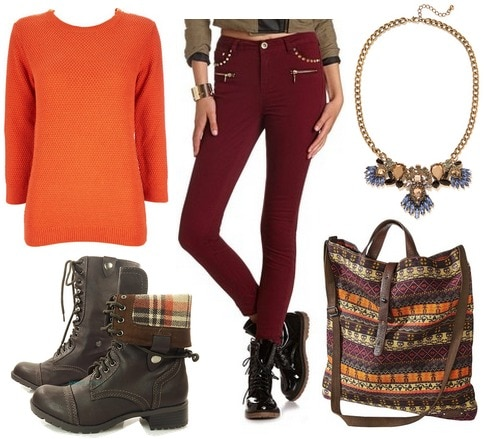 Orange sweater, burgundy skinnies, combat boots