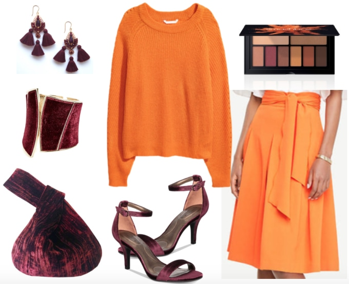 Orange sweater outfit: Bold way to wear an orange sweater with orange midi skirt, burgundy shoes, a burgundy velvet bag, and dark red jewelry