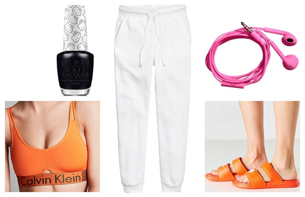 Orange and white lounge sweatpants outfit