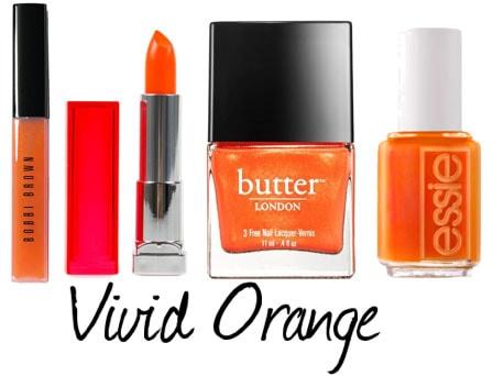 Orange lips and nails