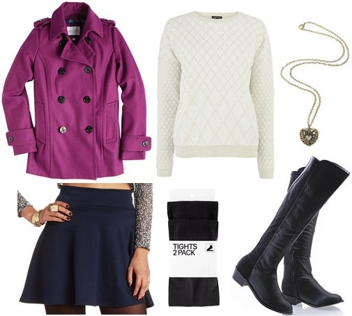 Orchid coat, navy skirt, sweater, riding boots