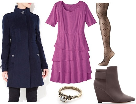 Orchid dress, navy coat, wedge booties