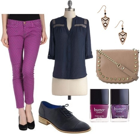Orchid jeans, navy blouse, navy oxfords