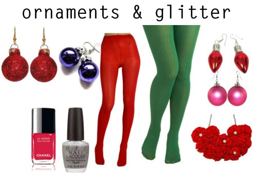 Ornaments and glitter holiday fashion trend