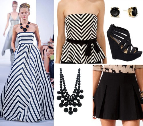 Oscar de la Renta inspired outfit 3: Black and white striped outfit inspired by navy and white striped gown