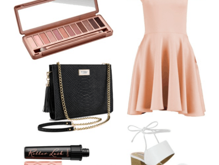 Pink off shoulder dress, black chain strap bag, nude palette, white shoes