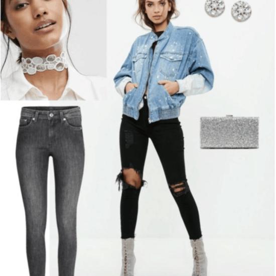 Sequin choker, diamond earrings, sequin clutch, denim jacket, black jeans