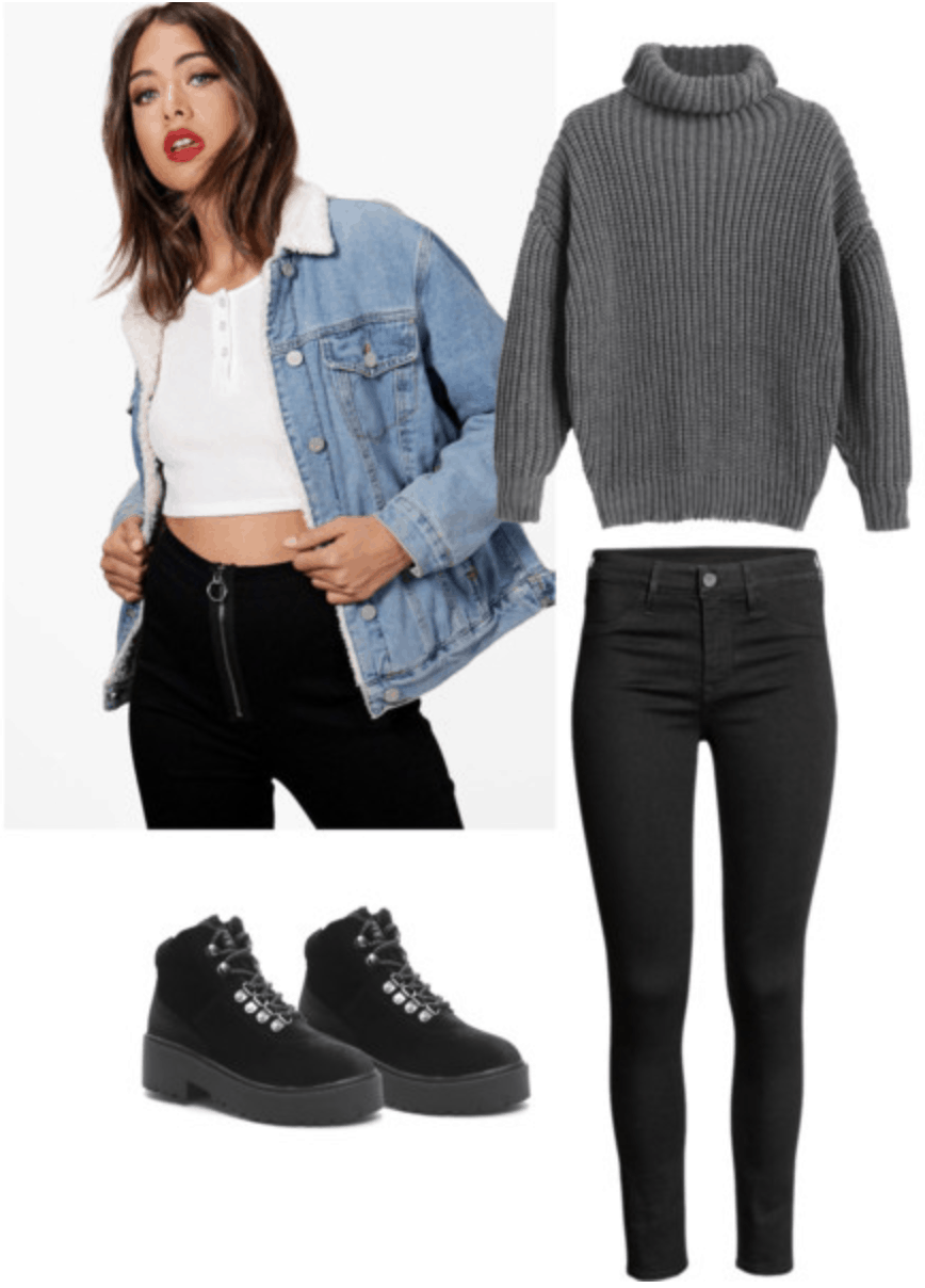 Shearling denim jacket, gray turtleneck sweater, black jeans, black boots