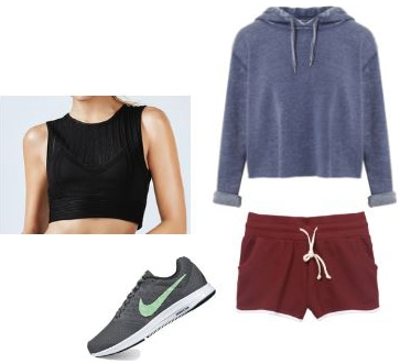 Athletic fashion: Cropped hoodie, crop top, shorts, running shoes
