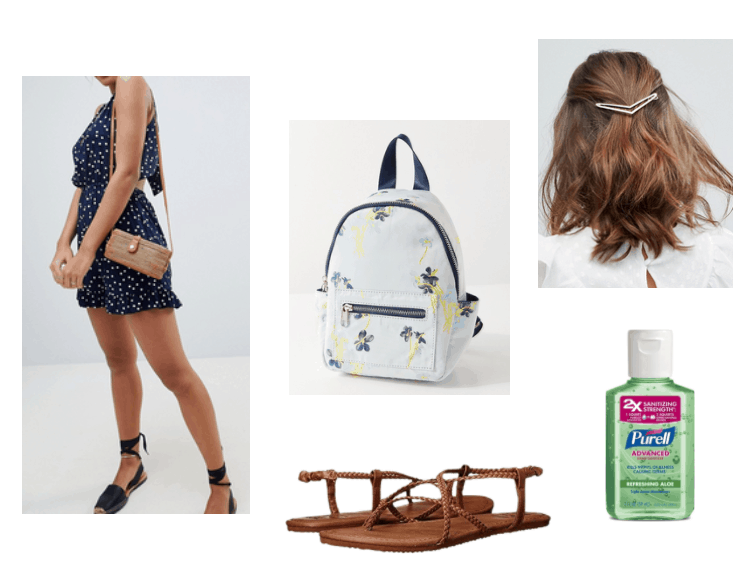 white polka dotted navy romper, light blue mini backpack, brown sandals, gold arrow hair pin, hand sanitizer