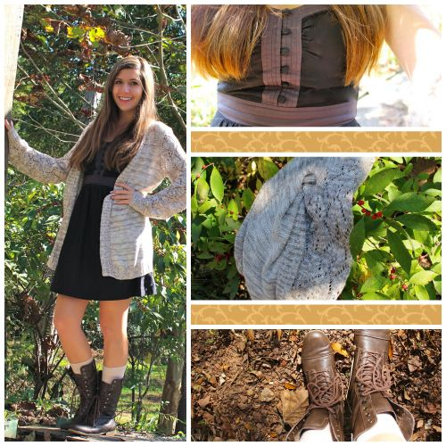 Summer dress, cardigan, and combat boots outfit