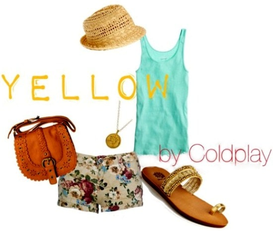 Outfit inspired by Julia Mateian: Floral tie front crop top, denim shorts, black scalloped bikini top, black strappy sandals, wide brim straw hat, wishbone necklace