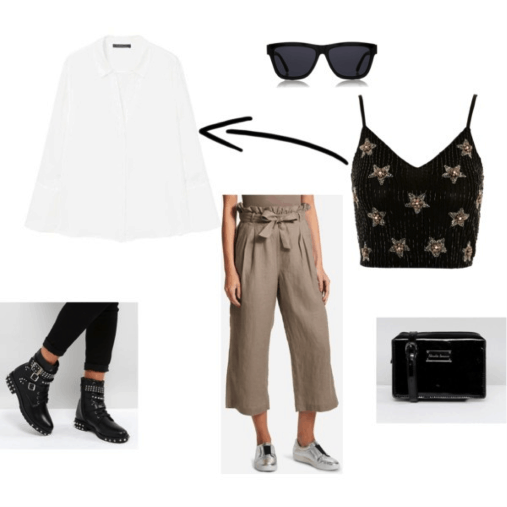 Lindsay Albanese outfit: Outfit inspired by Lindsay with button down top, crop top, paperbag pants
