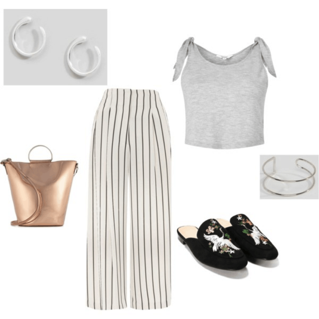 Julia Engel Gal Meets Glam style: Outfit inspired by Julia with striped pants, tie shoulder top, embroidered loafers