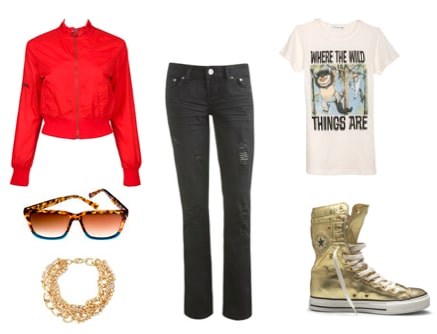 Outfit idea for wearing colorful sneakers