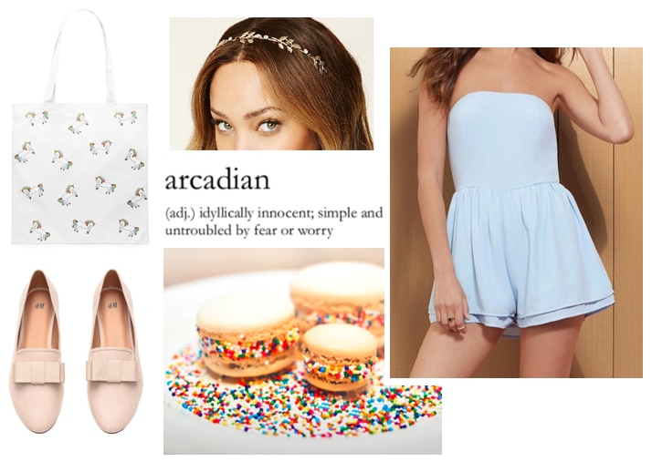 Sweet outfit idea: Pink loafers, unicorn tote, light blue romper, jeweled headband