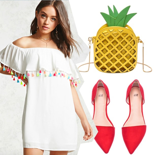 Cute summer outfit idea for when you're feeling cheerful: Off-the-shoulder white and colorful tassel dress, pineapple purse, pointy toe red flats