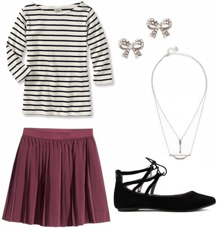 Outfit for class striped top skirt ballet flats