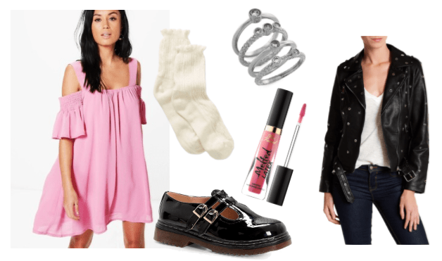 Outfit inspired by Cindy from Kindergarten video game: pink swing dress, Too Faced Melted Lip liquid lipstick in pink, black double strapped mary jane platforms, short white ruffled socks, stacked ring set, faux leather jacket