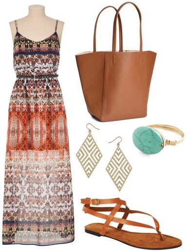 Outfit Under 0 for summer classes: printed maxi dress, sandals, faux leather tote
