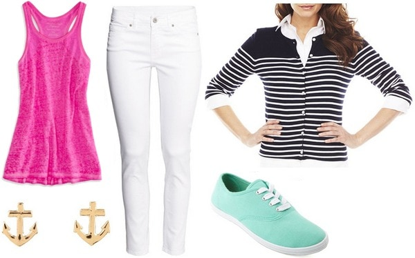 Outfit Under 0 for summer classes: white jeans, pink tank, striped cardigan, mint sneakers