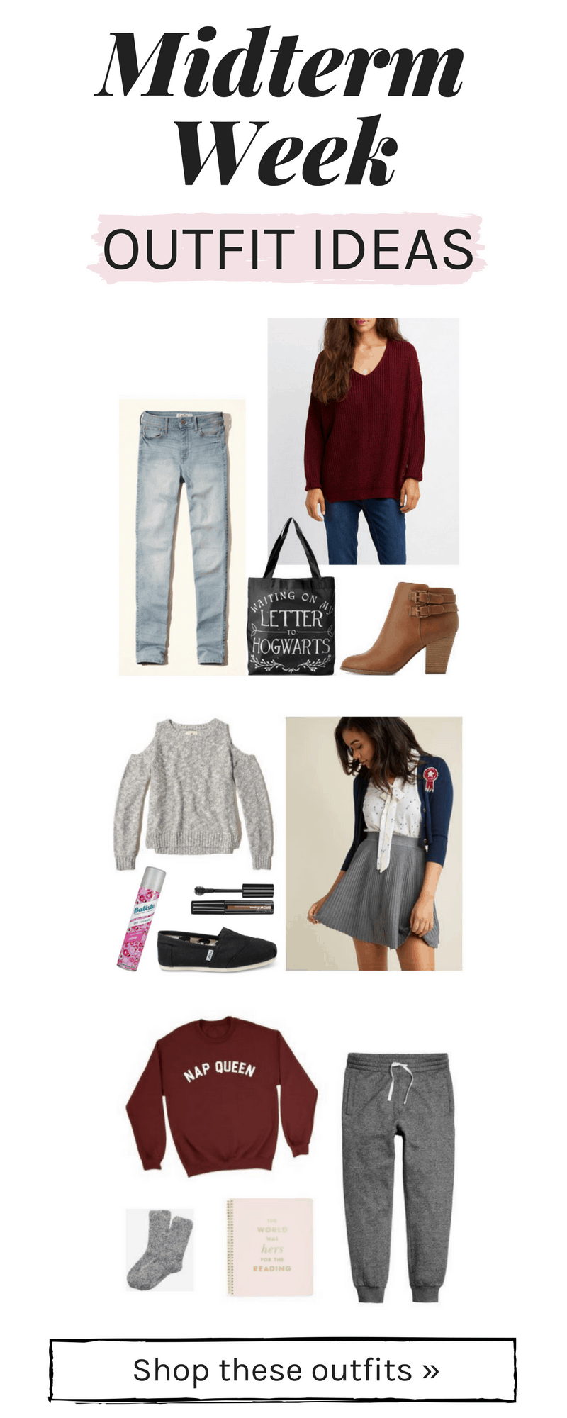 Outfits for Midterms in college - 3 outfit ideas for midterm exam week