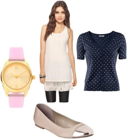 Outfits Under $100: White dress, black polka dot top, silver toe flats, pastel pink watch