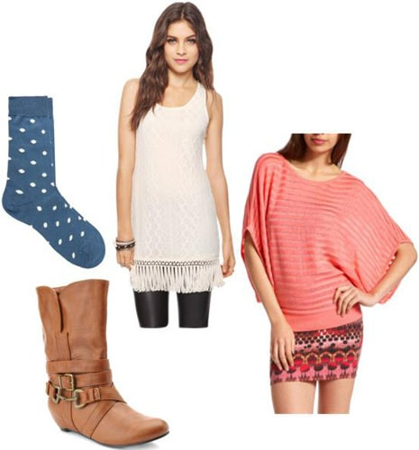 Outfits Under $100: White dress, brown buckled boots, pink sweater, blue statement socks