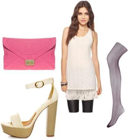 Outfits Under $100: White dress, pink clutch, platform sandals, tights
