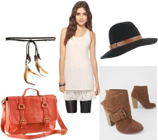 Outfits Under $100: White dress, orange satchel, brown ankle boots, feather belt, sun hat