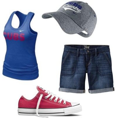 Outfits Under $100: What to wear to a baseball game - Shorts, tank, baseball hat, converse