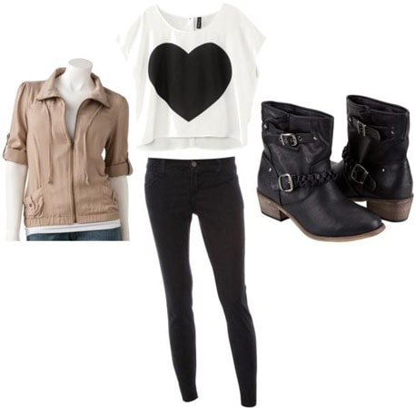 Outfits Under $100: What to wear to a bonfire - Black skinny jeans, heart crop top, ankle booties, beige moto jacket