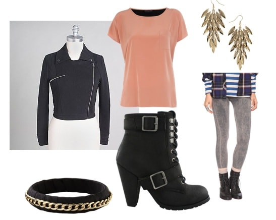 Outfits Under $100: High heeled ankle boots, leather jacket, grey skinny jeans, earrings, bracelet, pink tee