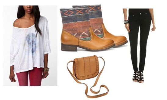 Outfits Under $100: Geometric patterned boots, off-shoulder tee, cross-body bag, black skinny jeans
