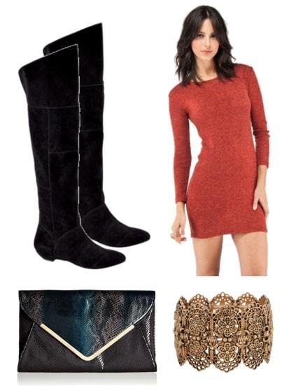 Outfits Under $100: Knee-high boots, red dress, envelope clutch, bracelet